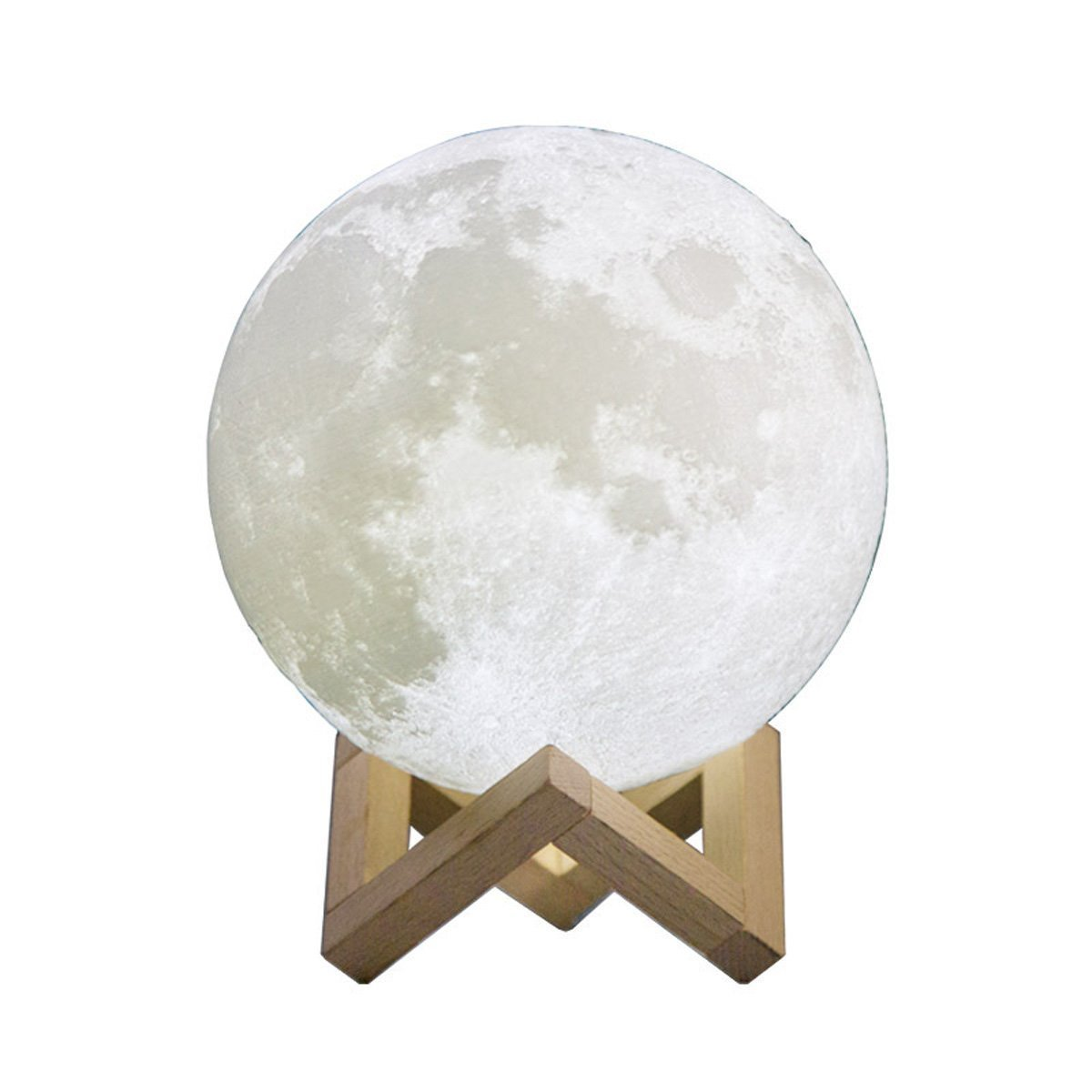 3D Printing Moon Lamp Night Light,WONFAST USB Rechargerable Touch Switch Brightness Yellow and White Adjustable Desk Lamp With Wooden Mount,Kids Room Decor Birthday Christmas Gift (7 inch/18CM)