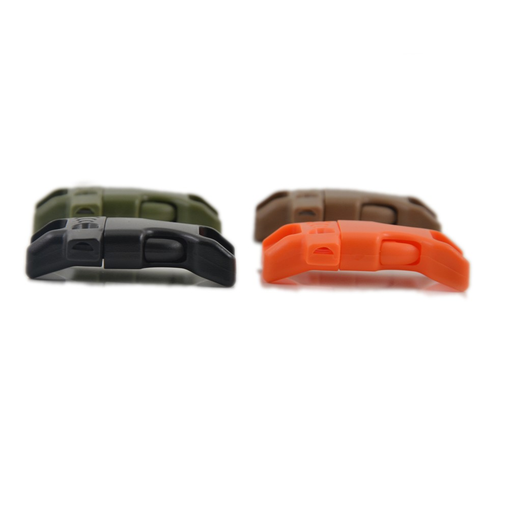"CURVED Whistle Buckles 1/2"" (13mm) paracord whistle buckle Great for Paracord Bracelets. Emergency with fire starter"