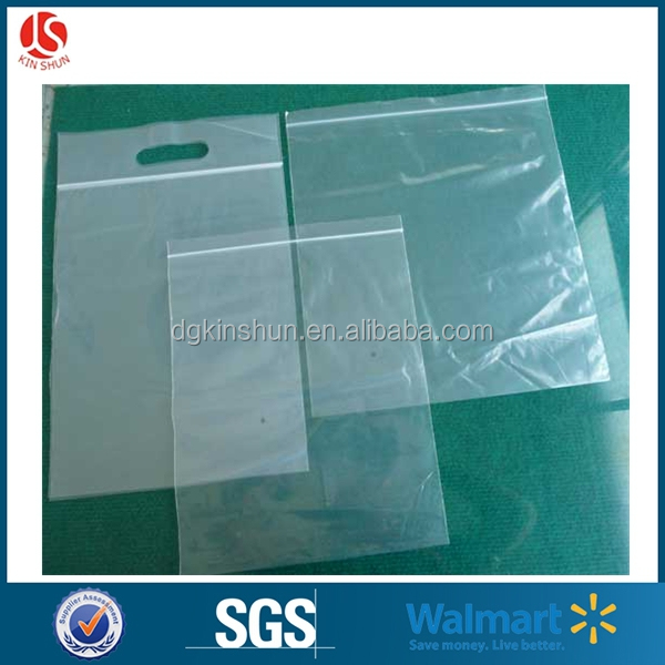 Custom Size Ziplock Bag Plastic Manufacturer With Handle Hole