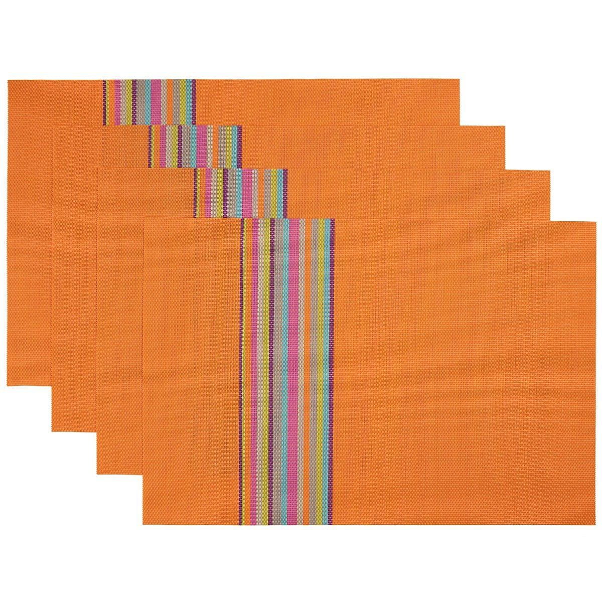 SiCoHome Placemats,Orange,Set of 4,Striped Placemats for Dining Table Heat Insulation Stain-resistant Woven Vinyl Kitchen Placemat Vinyl Placemats