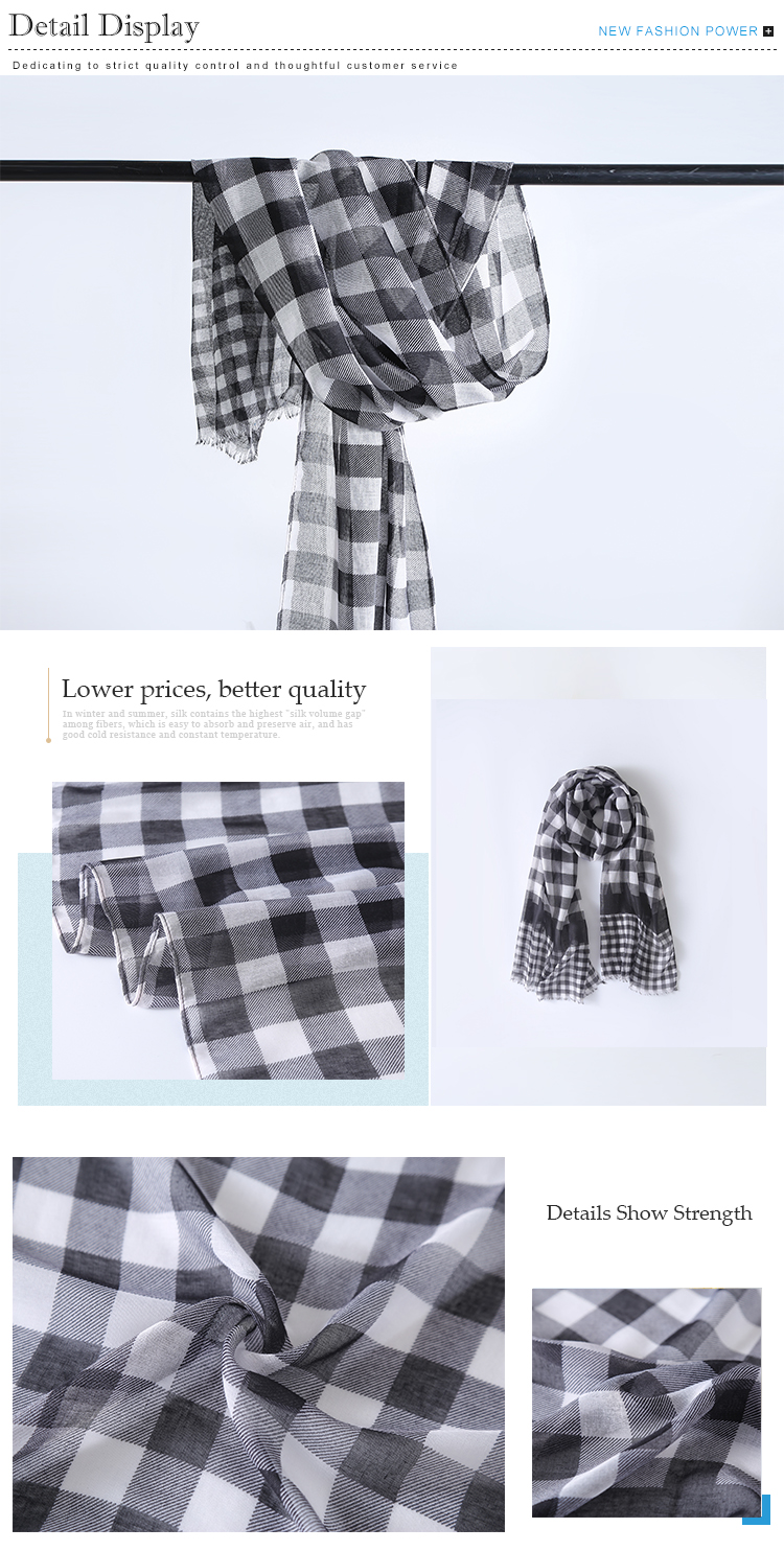 Classic black and white checked hijab 100% cotton ghutra arabic scarf
