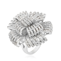 13111-new york costume fashion jewelry luxury big flower italian silver color rings