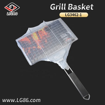 Customizable metal bbq basket with wooden handle for camp