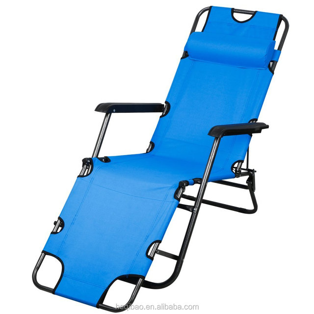 Patio Folding Recliner Lounge Chair Chaise (Blue)