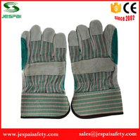 Green Double Palm cowsplit safty gloves for welding