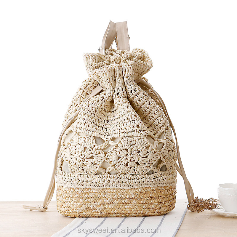 Hot selling straw summer beach backpack bags, crochet bulk beach bags(SWTJU1617)