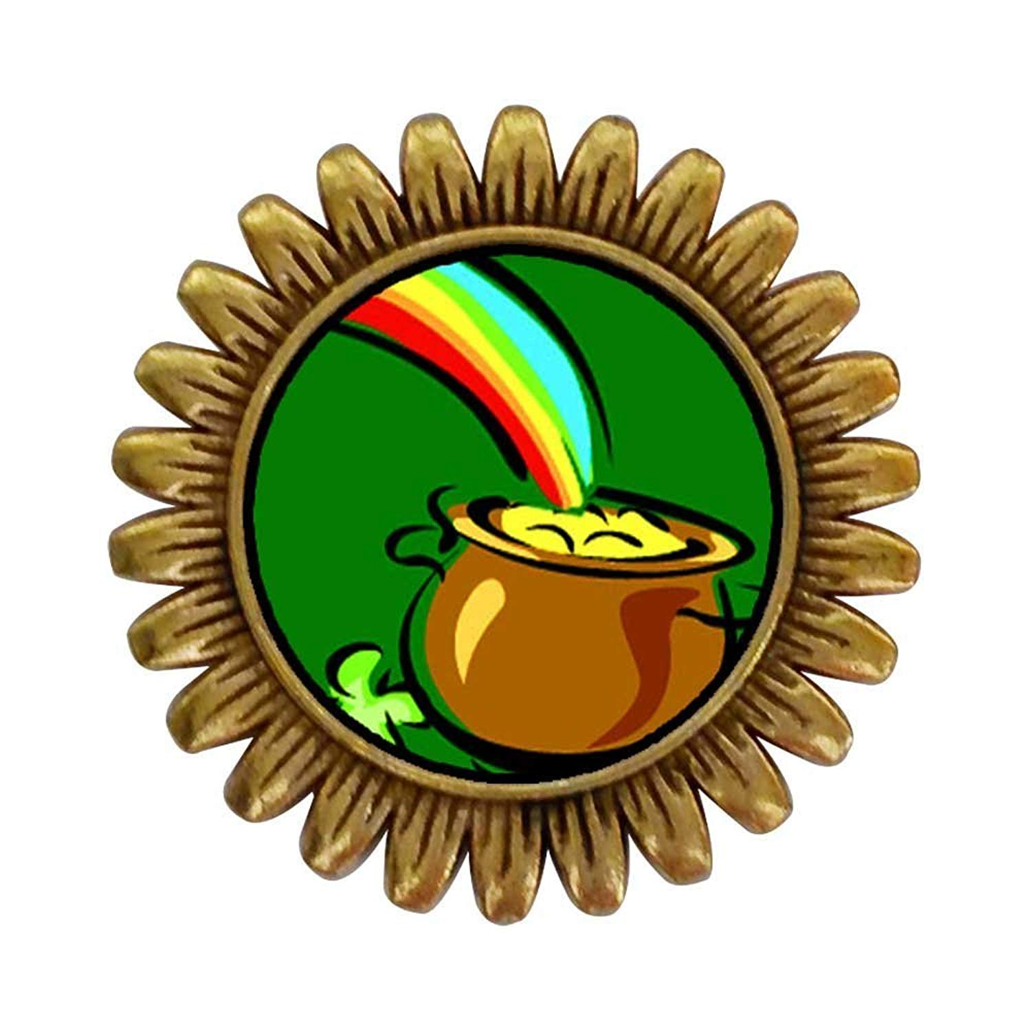 GiftJewelryShop Ancient Style Gold-plated Pot Of Gold Sunflower Pins Brooch