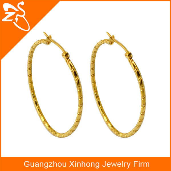 Simple Thin Fancy Gold Earrings Designs For S Plated Round Shaped Woman