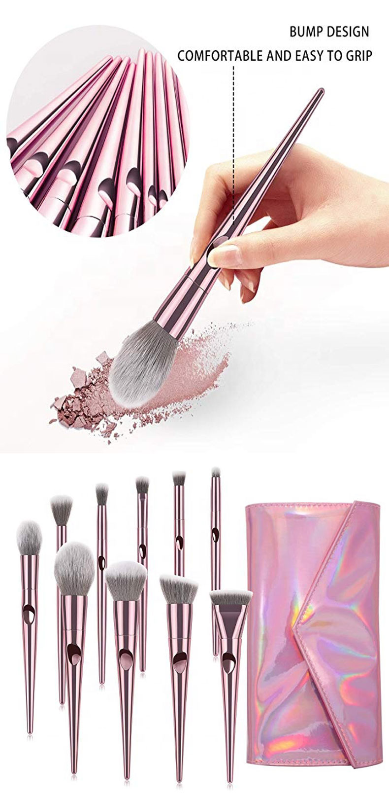 2019 New Products Private Label 10 Pcs Glitter Natural Hair Makeup Brush Set Wholesale
