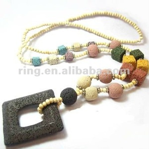Unisex black natural square lava rock handmade small wood beads charm necklace