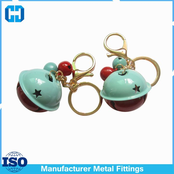 Promotional Gift Accessories Metal Large Star Sleigh Bells With Key Ring