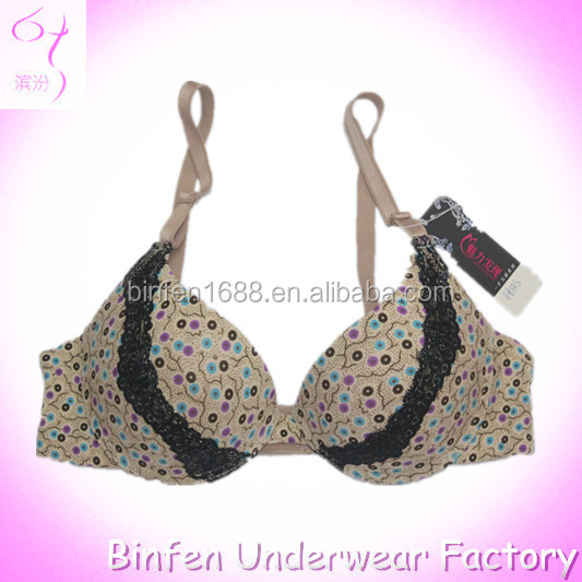 Dot Print Lace Detail Secret Womens Hot Sex Push-up Bra Images