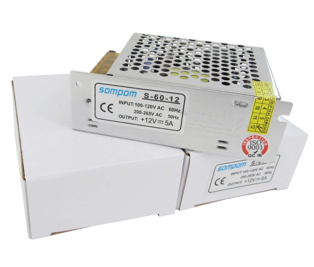 Sompom High Quality Small Size SMPS 12V 5A 60W LED Transformer Switching Power Supply