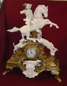 Fabulious Brave Goatherd Riding Horse Fighting Wolves Decorative Ceramic Table Clock, Ceramic Sculpture Art