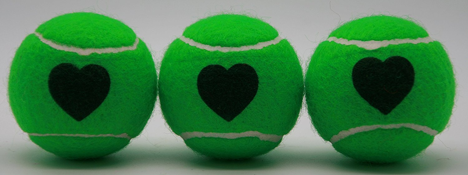 Price's Heart Motif Type 2 Tennis Balls Made in the UK (1 x 3 Ball Tube) Green, pressureless, durable and long lasting.