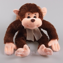 hot sale plush monkey with ribbon,stuffed coffee monkey animal toys