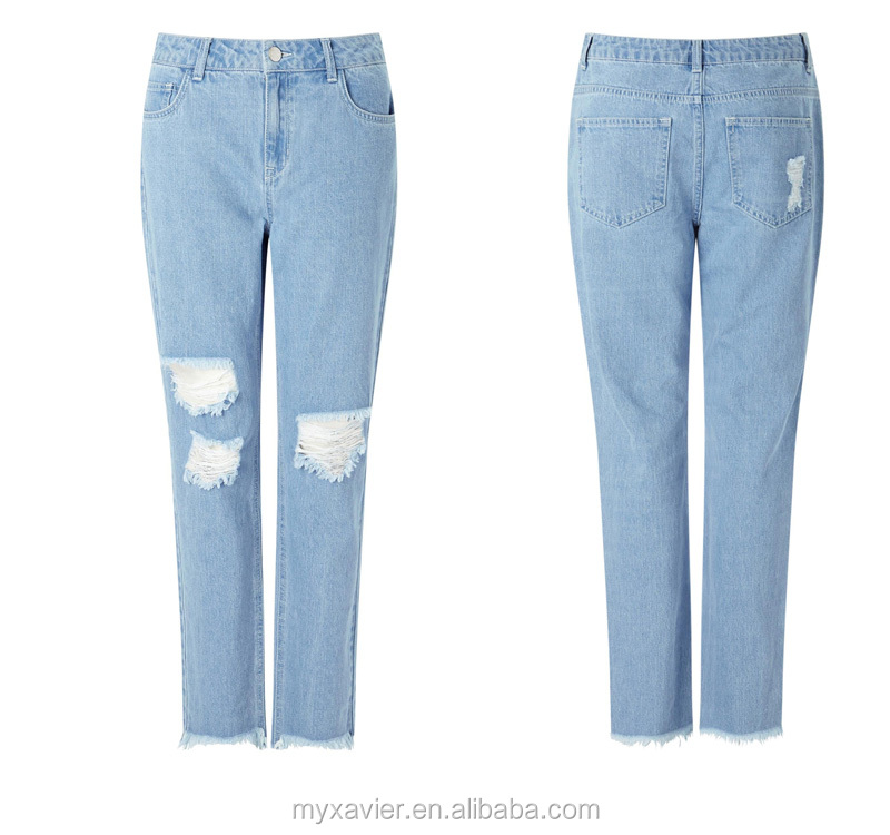 Destroy style loose fit fray hem jeans