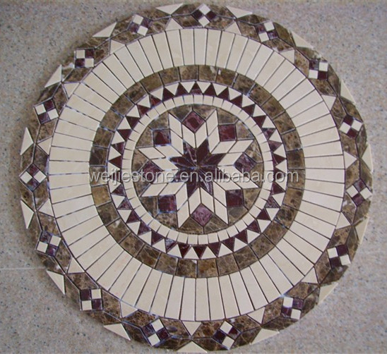 Round stone mosaic medallion garden table top
