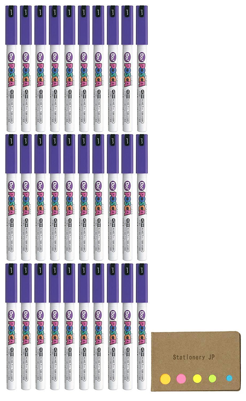 Uni Posca Paint Marker Pen PC-1MD, Extra Fine Point, Standard Color Violet Ink, 30-pack, Sticky Notes Value Set