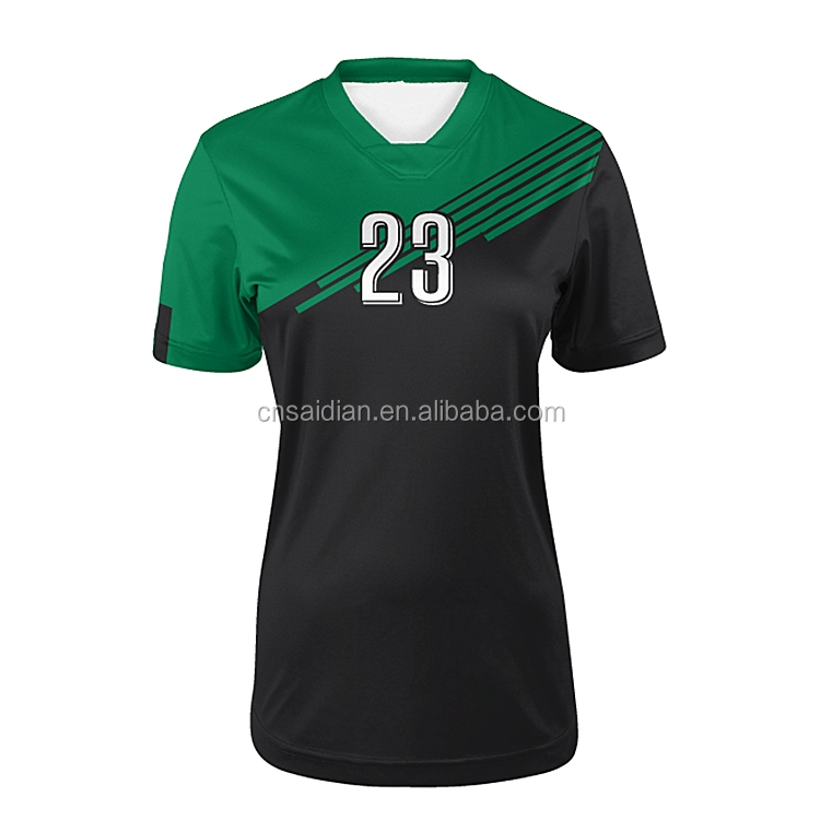 5772762b73f 2017 2018 Ladies green soccer uniforms wholesale customized womens soccer  jersey