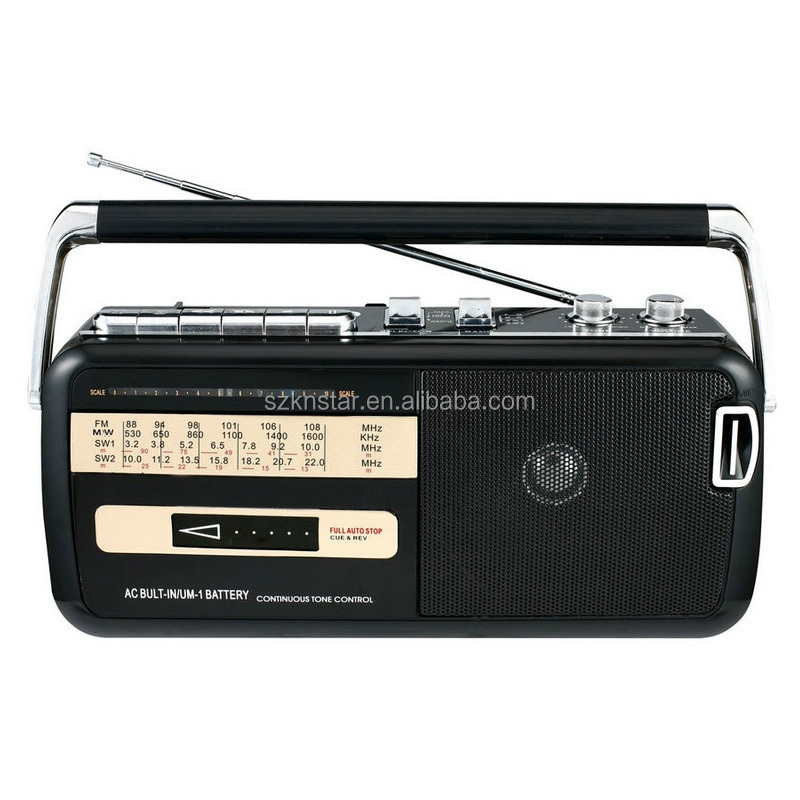 Portable Vintage am fm sw radio with casstee tape recorder player