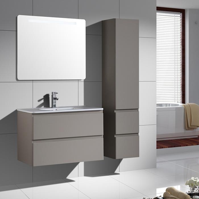 Moderne Mur Pvc Laminé Mdf Salle De Bains Vanité Avec Miroir