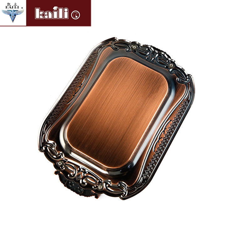 wholesale high quality antique metal stainless steel rectangle serving food tray