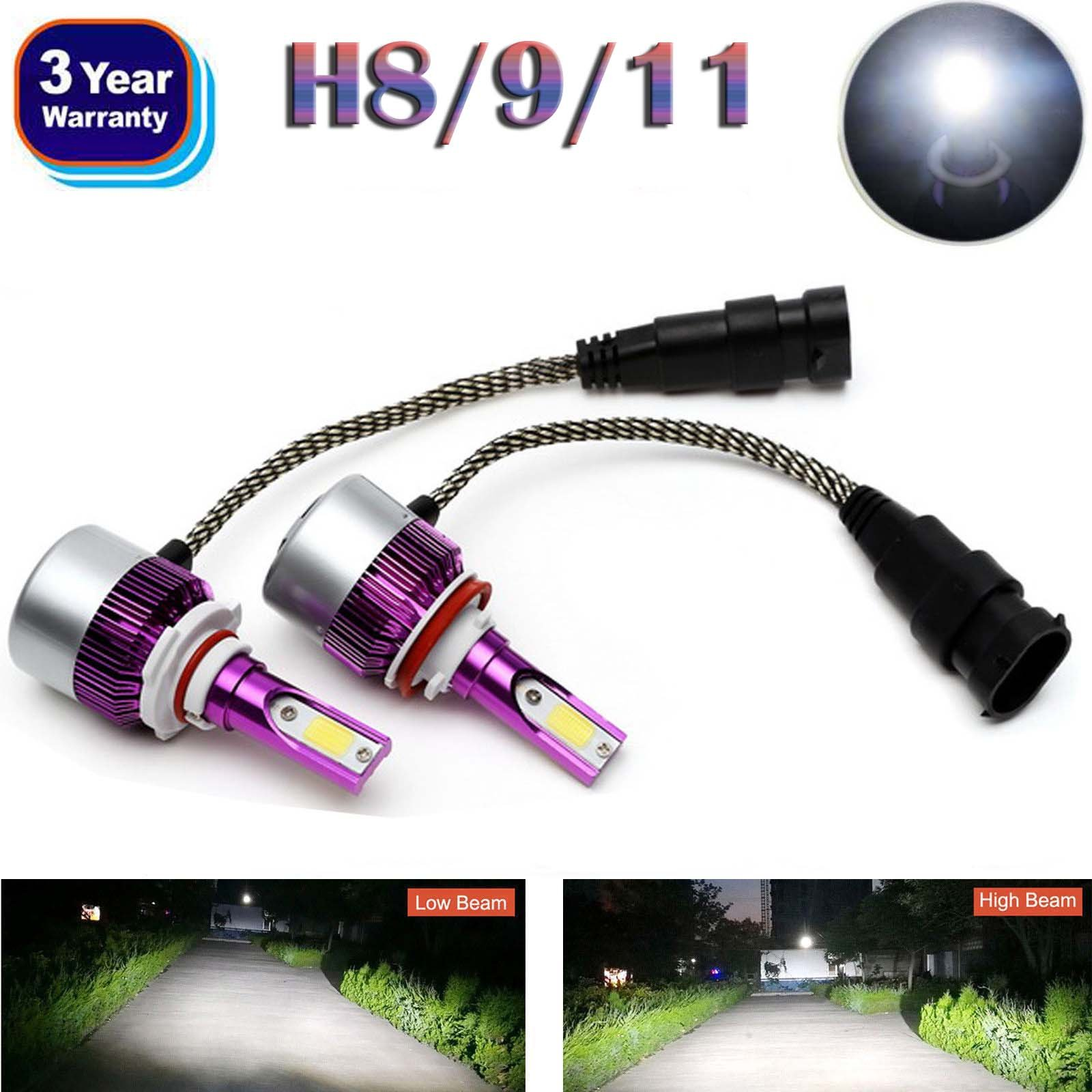 Bowoshen H8 H9 H11 LED Headlight Bulbs All-in-One Conversion Kit High or Low Beam Bulbs 160W Plug & Play - 2 Year Warranty