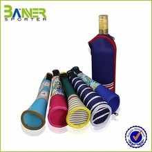 Zippered wine bottle holder collapsible beer bottle cooler bag neoprene insulated cover