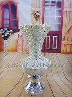 Best fashion hot sales floor flower vase tall glass with jewel