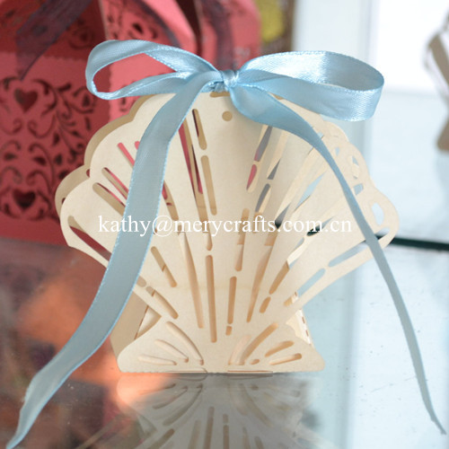 New Design Beach Wedding Favors Laser Cut Ivory Shell Favor Box
