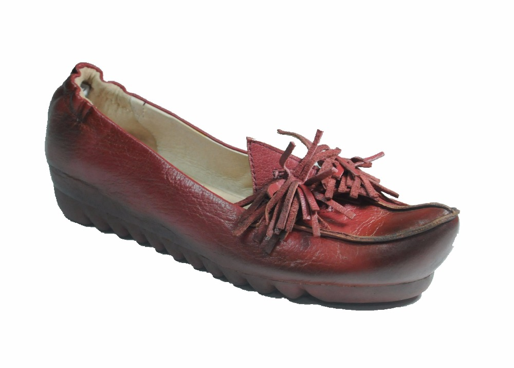 Women casual comfortable antique leather ladies shoes with soft flat outsole