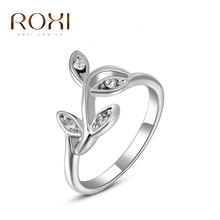 ROXI Christmas Gift Classic Genuine Austrian Crystals Sample Sales Rose Gold Plated Leaf The Ring Jewelry