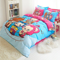 4pcs kids cartoon printing bedding sets Twill Full Queen King Size Quilt Duvet Cover Pillowcase Child Bed sheet