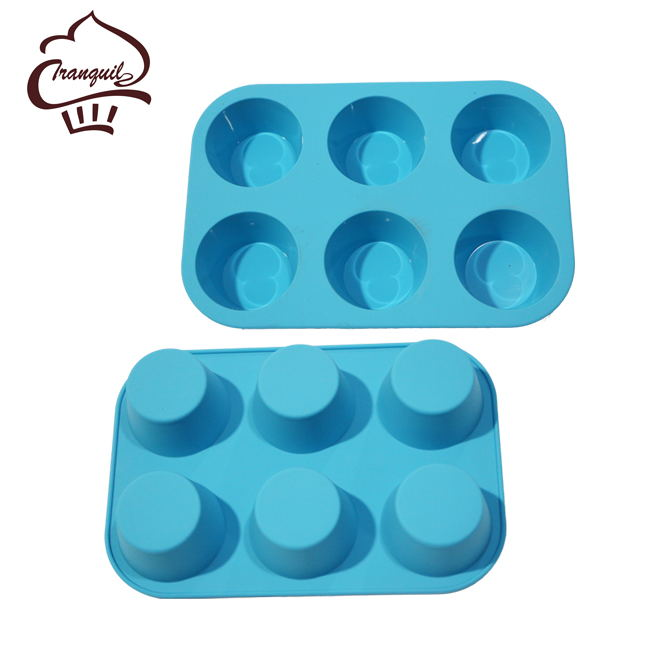 Hot Selling Microwave Safe 6 Cups Muffin Mould Silicone Round Jelly Mould for decoration