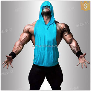 fitness men cotton sleeveless hoodie