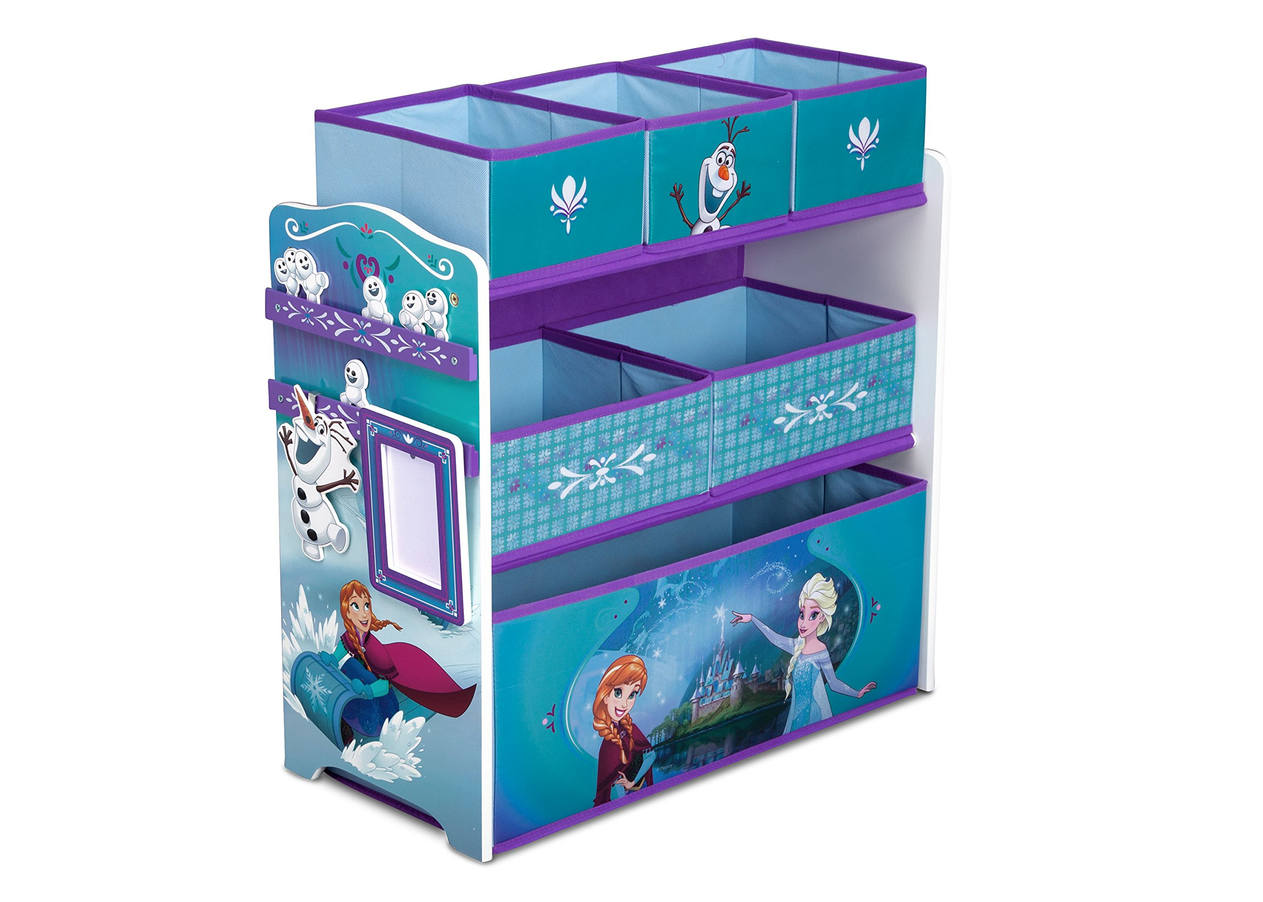 Disney Frozen Multi-Bin Toy Organizer with Dry Erase Board, Photo Frame, Elsa, Anna, Snowgies and Olaf