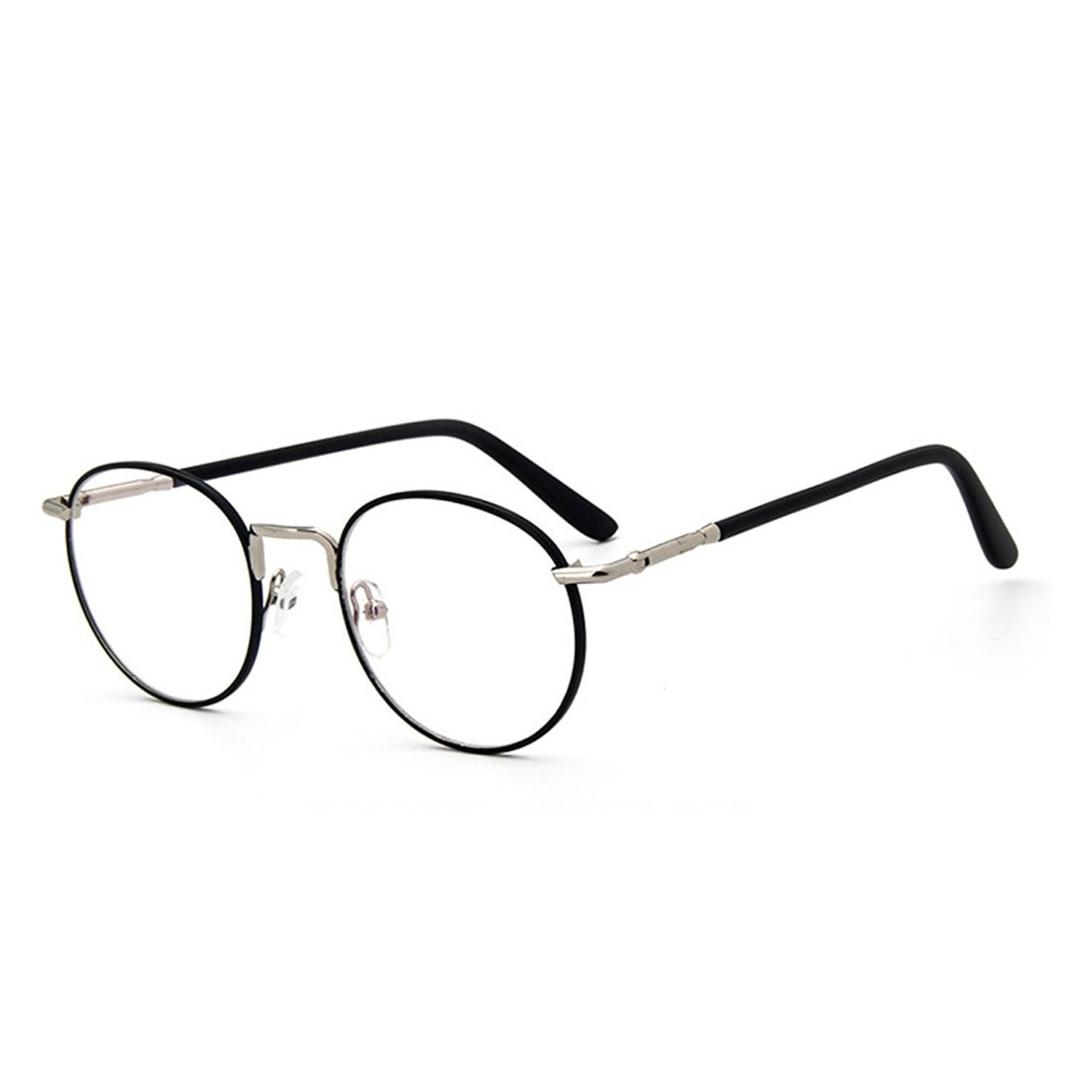 456183163bbf6 Get Quotations · D.King Vintage Oversized Metal Glasses Frame Clear Lens  Round Circle Eye Glasses