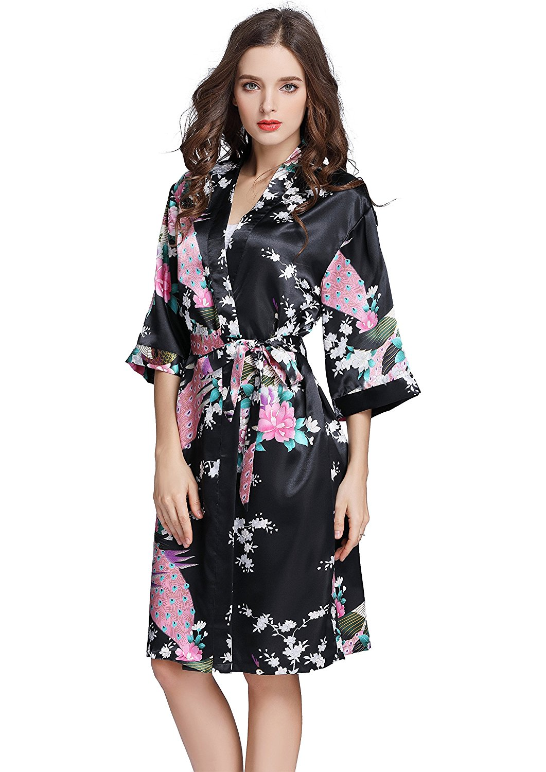 Get Quotations · J.ROBE Women s Printing Lotus Kimono Robe Short Sleeve  Silk Bridal Robe 8f3ab4a29