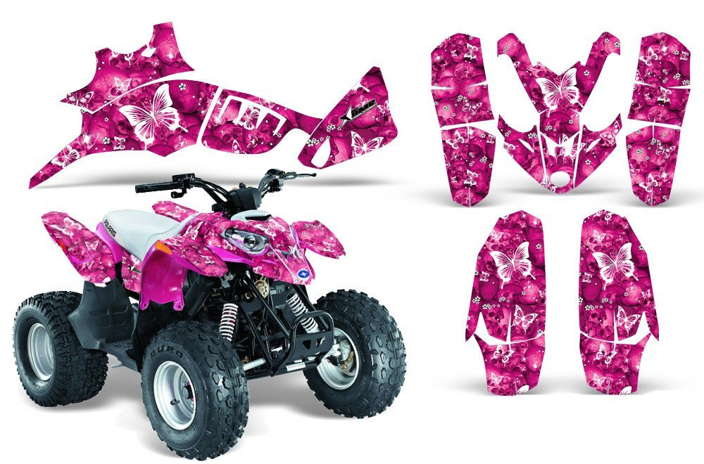 AMR Racing Graphics Kit Sale For Polaris Outlaw//Predator 50 BUTTERFLIES WHITE