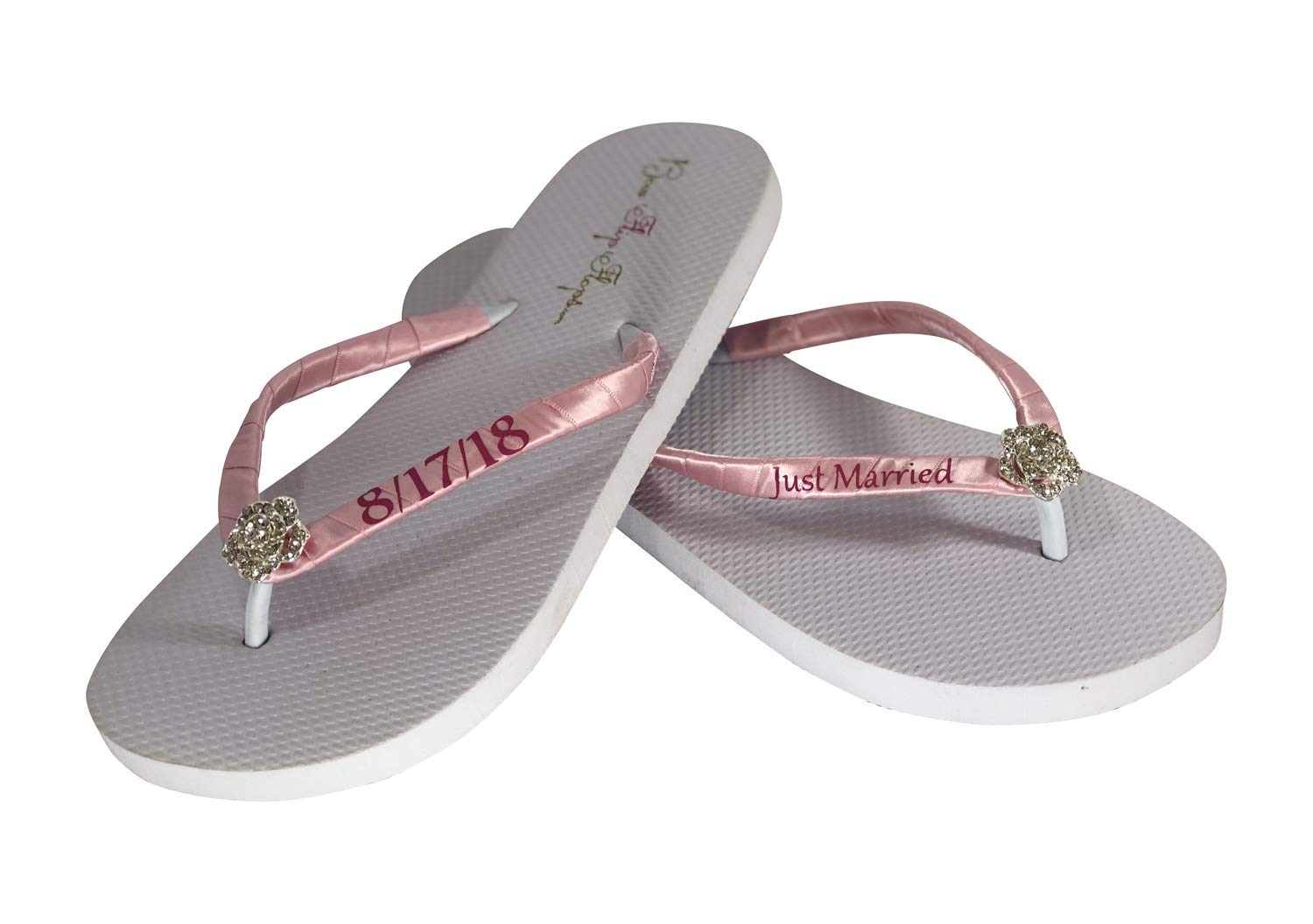 0f7334de8 Get Quotations · Just Married Wedding Flip Flops -Flat or Wedge Heel -  Ivory or White - Wedding