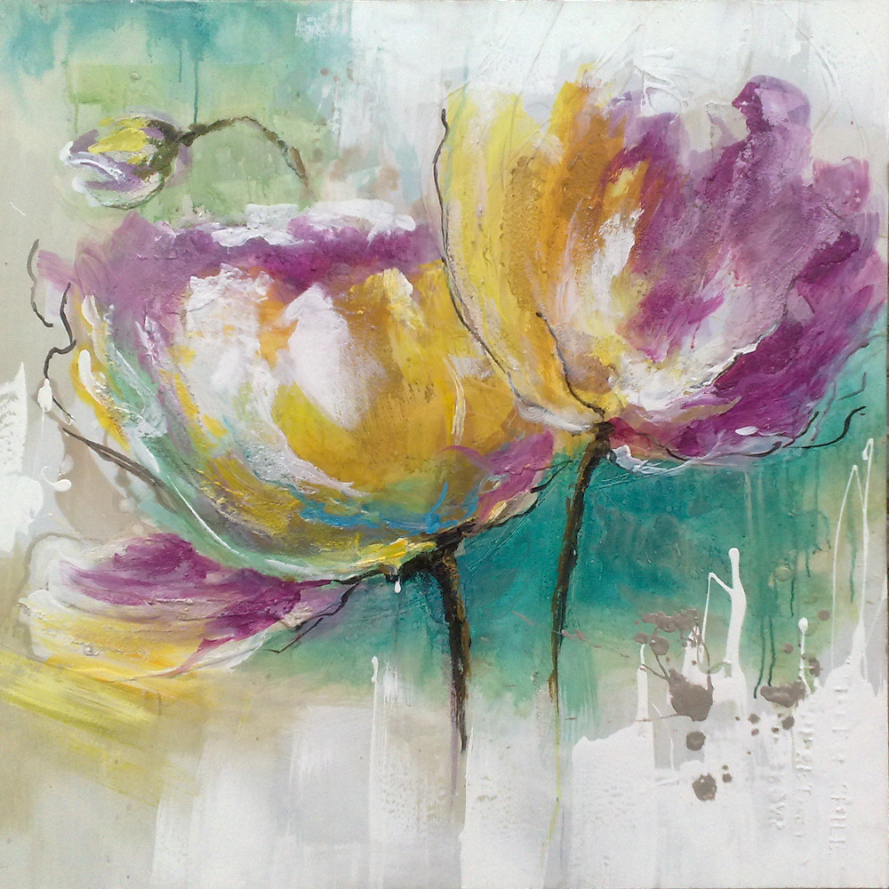 Fleurs peinture moderne for Objets decoratifs salon