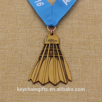 Custom cheap antique badminton shape medal sport medal with ribbon