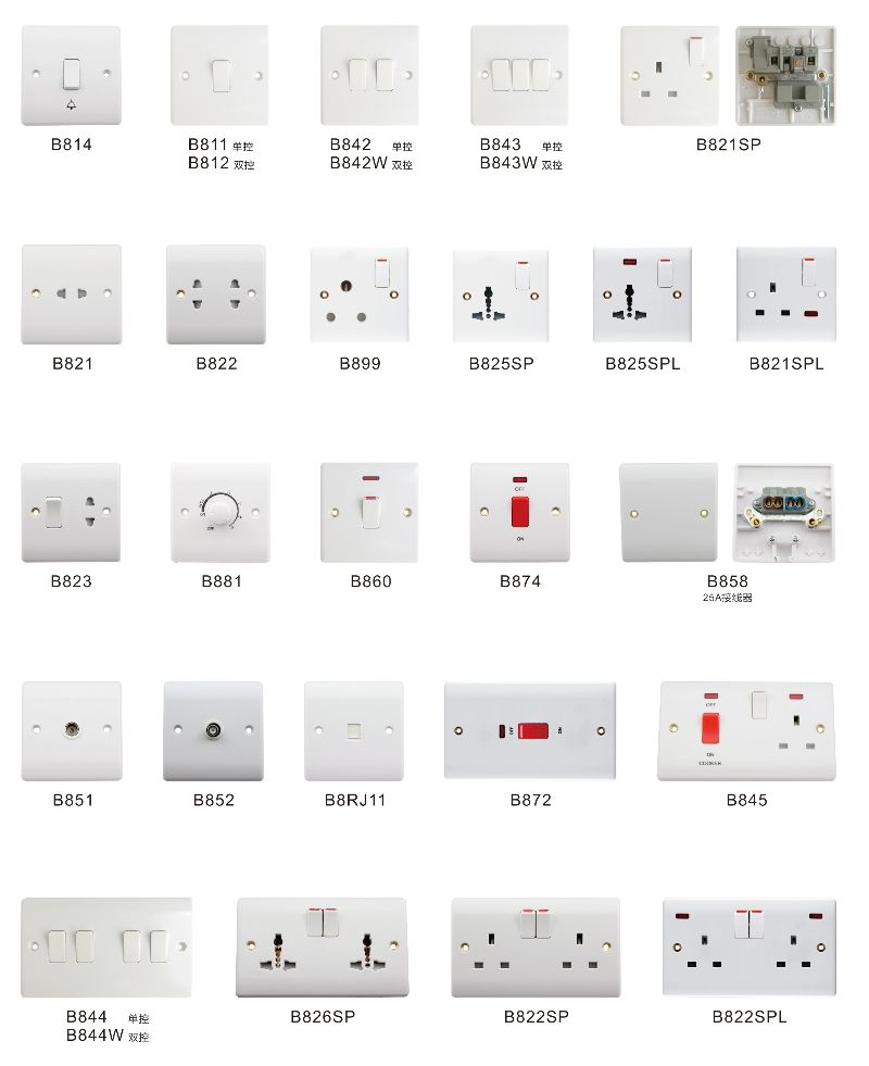 British Type Wall Light Switch 110v Ac Power Socket