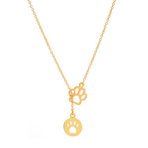 Choker Collar Chain Gold Silvers Charms Cat Dog Pets Paw Prints Pendants Lariat Necklace Jewelry For Woman Gifts