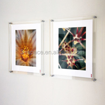 Floating Acrylic Wall Mount Photo Frame 4x6 Picture Diploma Display Holder