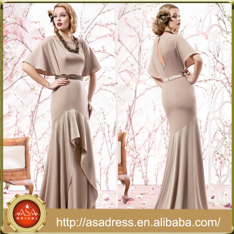 VL153 Floor-Length Half Sleeve Nude Mother of The Bride Dresses with Beaded Sashes A-Line Brautmutterkleider