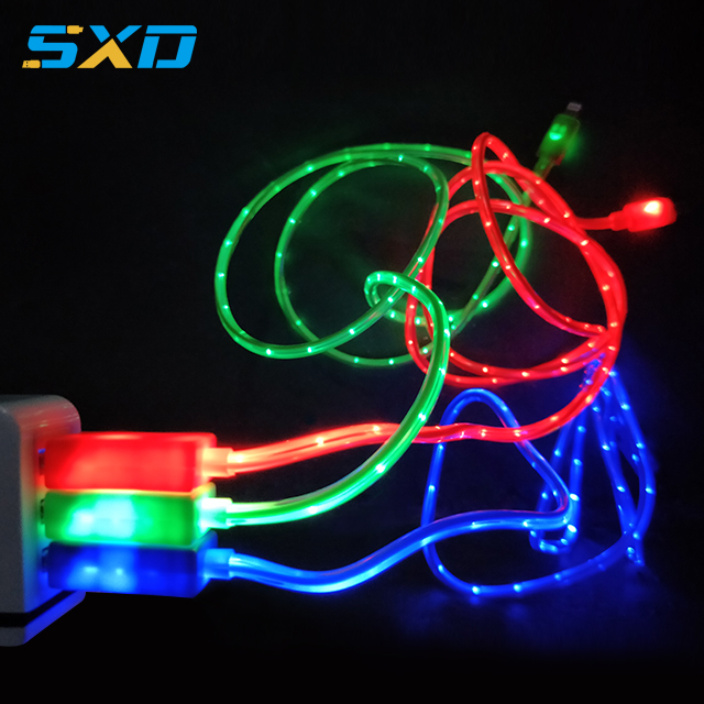 Colorful led light usb micro type C cable fast charging usb data cable for iphone