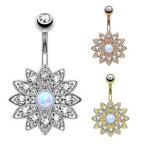 Fashion Crystal Lotus Sun Flower Opal Belly Button Navel Ring For Women Sexy Barbell Bar Boho Piercing Summer Body Jewelry Gift