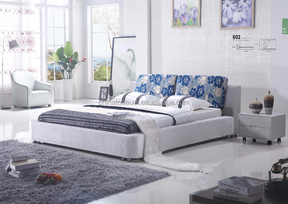 Modern Italian bedroom furntire, Pu PVC Faux leather bed